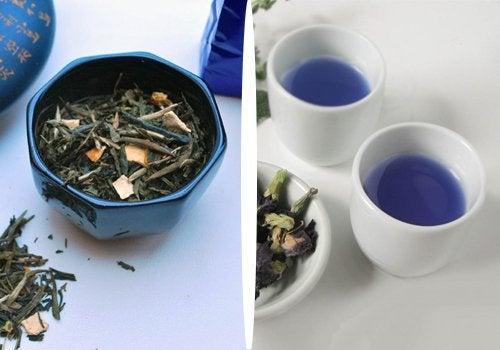 Синият чай е много деликатен и се характеризира с флорален и плодов аромат.