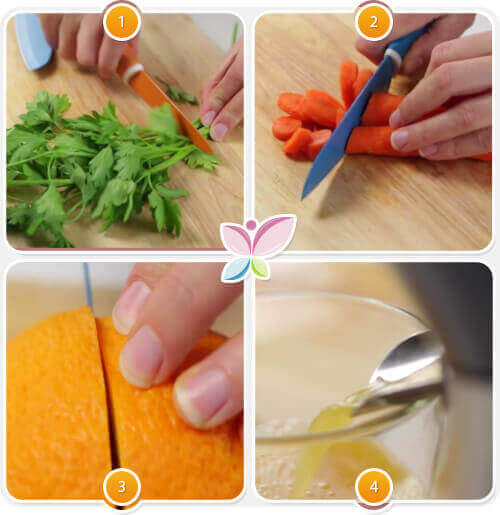 Приготовление на сок от моркови, портокал и магданоз