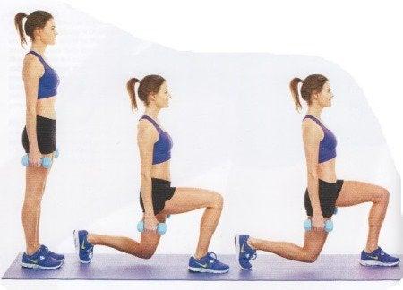 Нападите са упражнение е идеално за тонизиране на бедрата и задните части