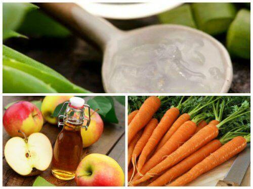 Натурално средство срещу разширени вени с алое вера, морков и ябълков оцет