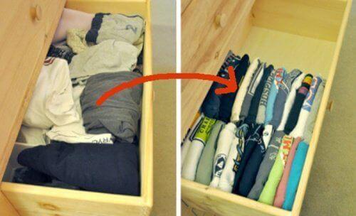 Съхранявайте тениските вертикално в чекмеджетата, за ги откривате по-лесно.