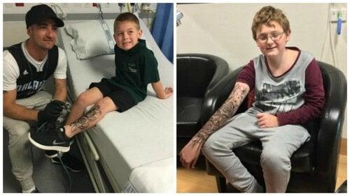 Мъж прави временни татуировки на болни деца за самоувереност