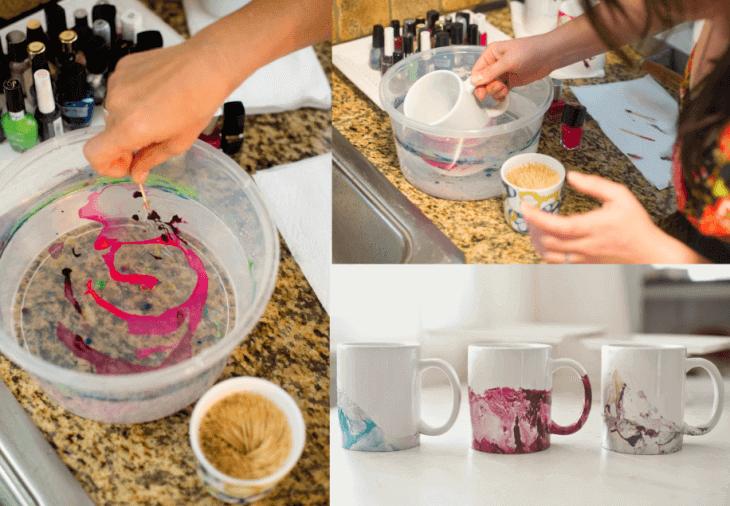 Украсяване на чаши с лака за нокти