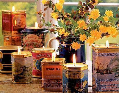 Поставки за свещи чрез рециклиране на консервни кутии
