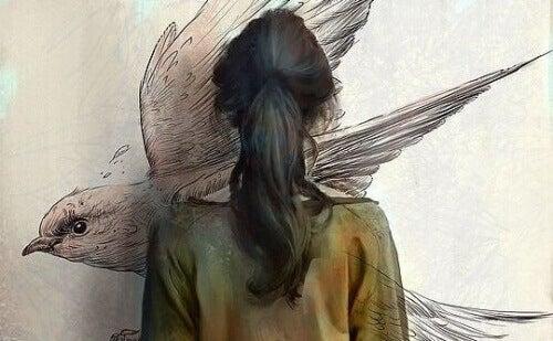 как да освободите съзнанието си - жена в гръб, от която излиза птица, символизираща емоциите, които я преследват