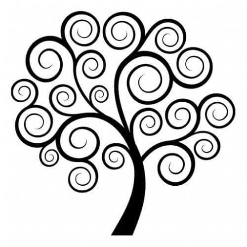 как да освободите съзнанието си - рисунка на дърво с корона от спирали