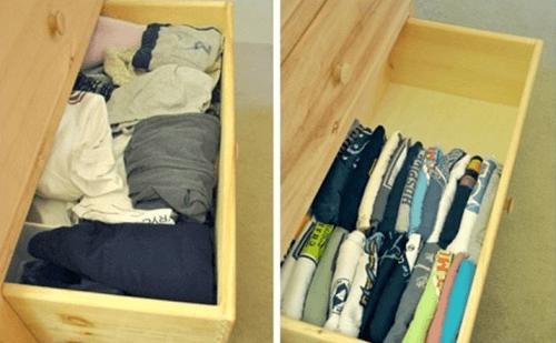 организирането на къщата - тениски в чекмеджето