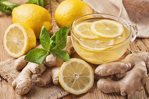 зелен чай с джинджифил и лимон