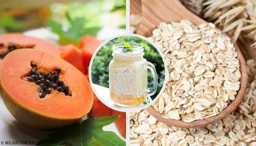 Смути с папая, ябълки и овесени ядки за балансиране на храносмилателната система