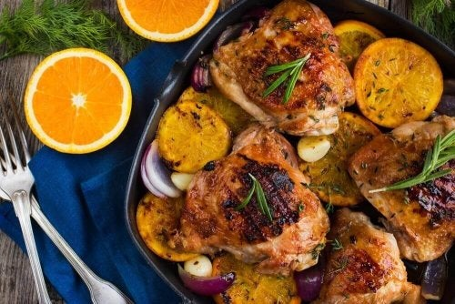 Вкусно печено пилешко с портокал и розмарин