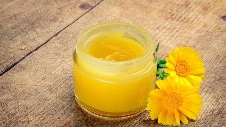 Масло от арника в бурканче и две цветчета от арника до него.