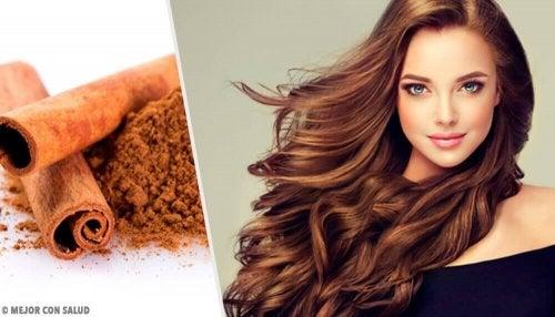 Колаж от две снимки: канела и от дясно- красива жена с хубава дълга коса