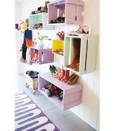 Декорации с кутии: снимка на различни идеи за шкафове за обувки