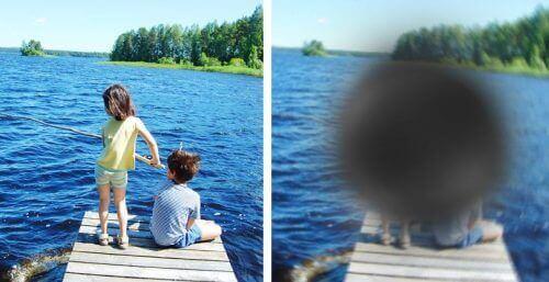 Макулната дегенерация: колаж от две снимки на деца край езеро. Едната снимка е ясна, а другата замъглена.