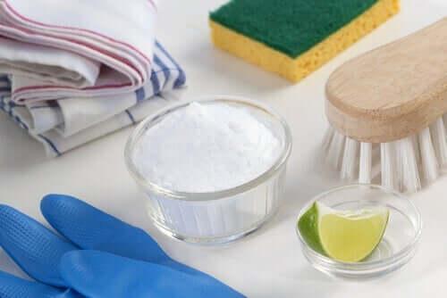За почистване на хладилника: снимка на различни неща за почистване