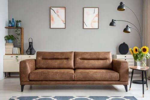 Снимка на всекидневна стая, с един двуместен кафяв диван.