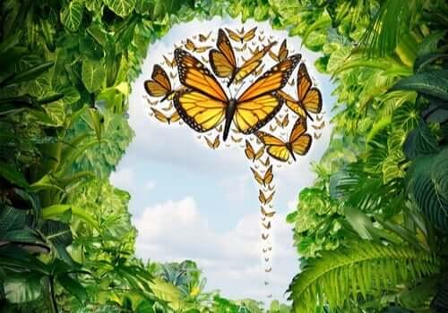 Арт графика пеперуди и зеленина