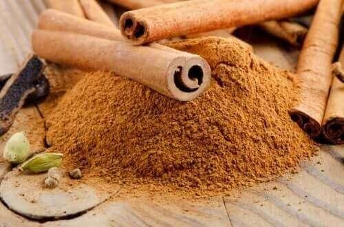 Снимка на канела на прах и пръчици канела