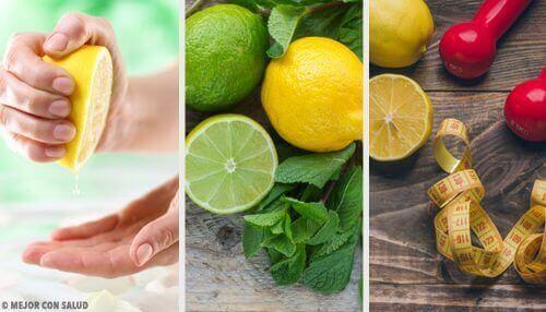 Колаж от три снимки с лимони и лимети